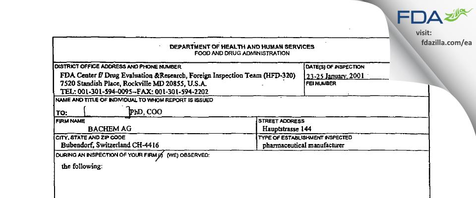 Bachem AG FDA inspection 483 Jan 2001