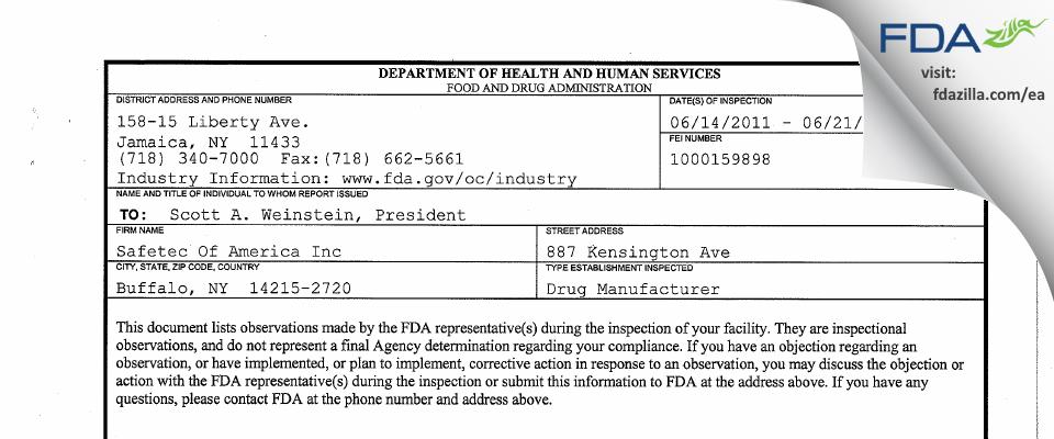 Safetec Of America FDA inspection 483 Jun 2011