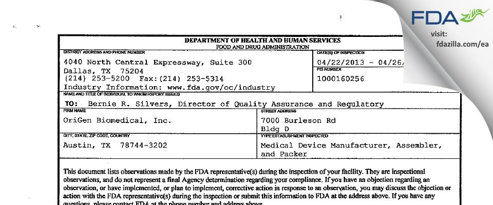 OriGen Biomedical FDA inspection 483 Apr 2013