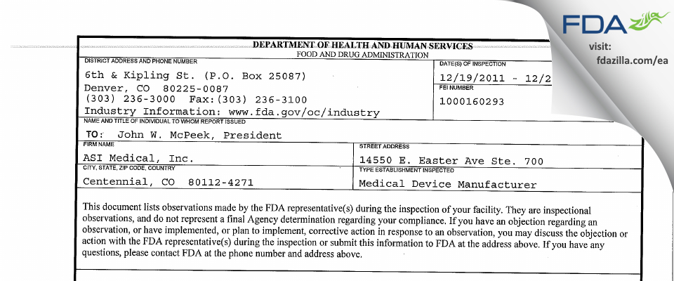 ASI Medical FDA inspection 483 Dec 2011