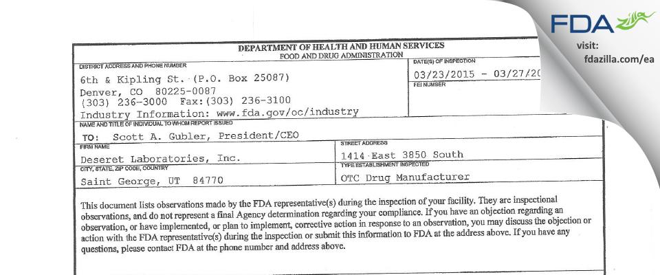 Deseret Labs FDA inspection 483 Mar 2015