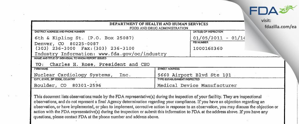 Nuclear Cardiology Systems, FDA inspection 483 Jan 2011