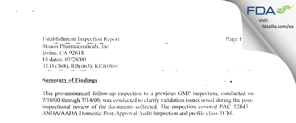 Stason Pharmaceuticals FDA inspection 483 Jul 2000