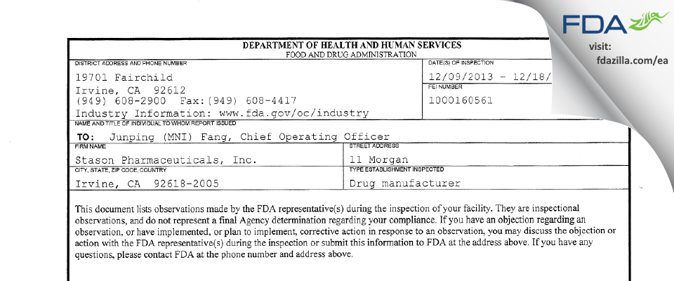 Stason Pharmaceuticals FDA inspection 483 Dec 2013