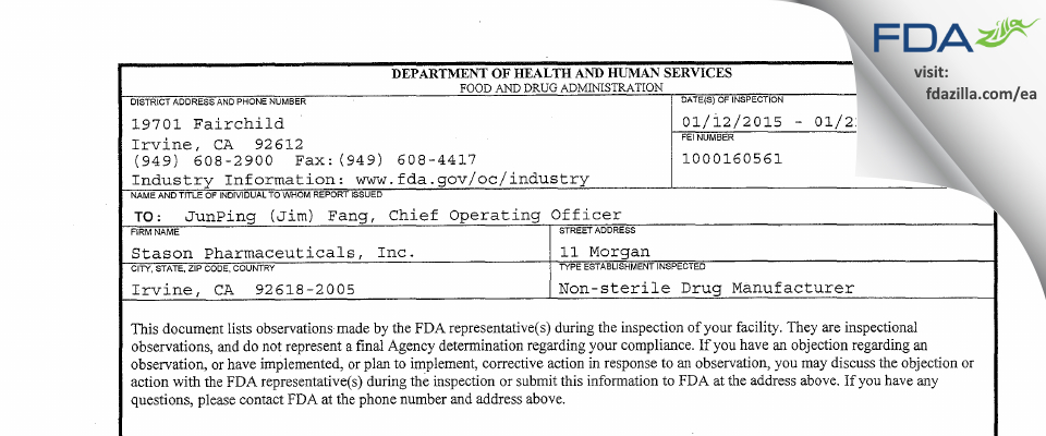 Stason Pharmaceuticals FDA inspection 483 Jan 2015