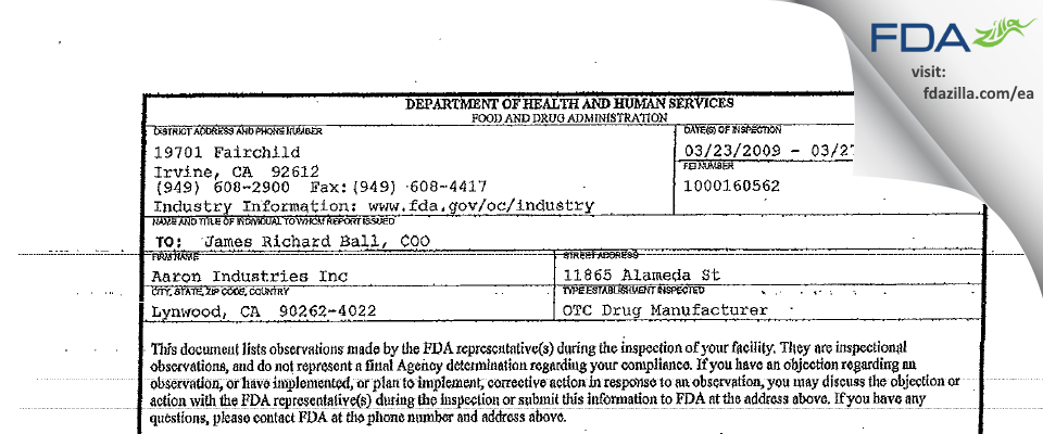 P&L Developments FDA inspection 483 Mar 2009