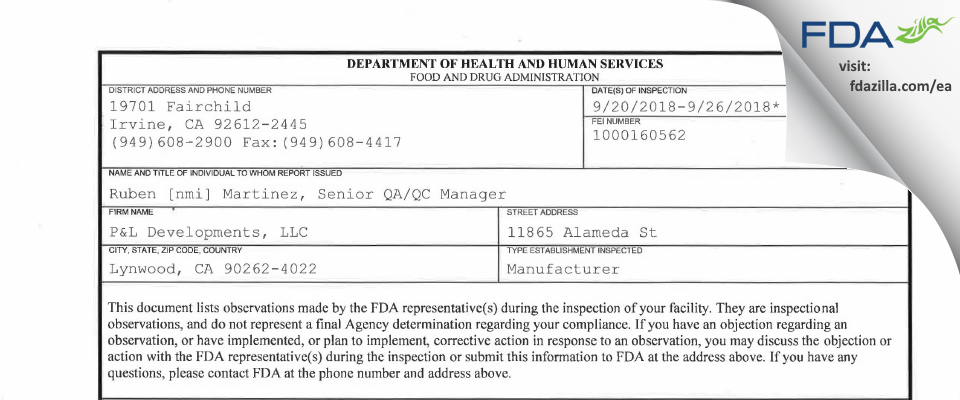 P&L Developments FDA inspection 483 Sep 2018