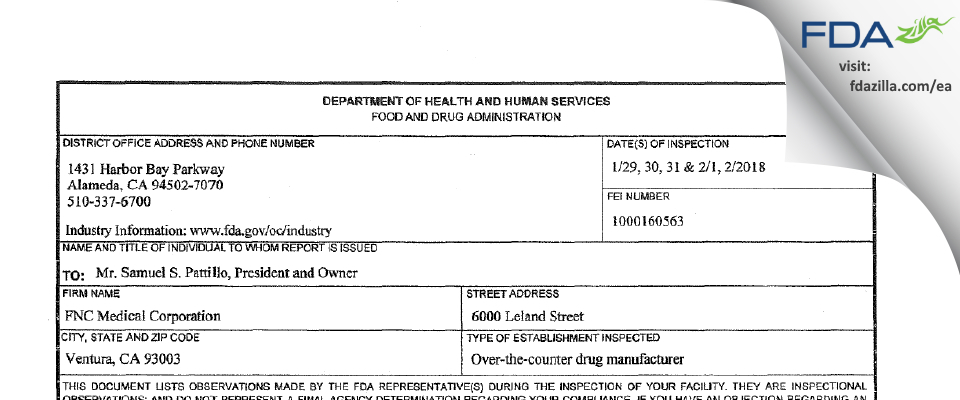 FNC Medical FDA inspection 483 Feb 2018