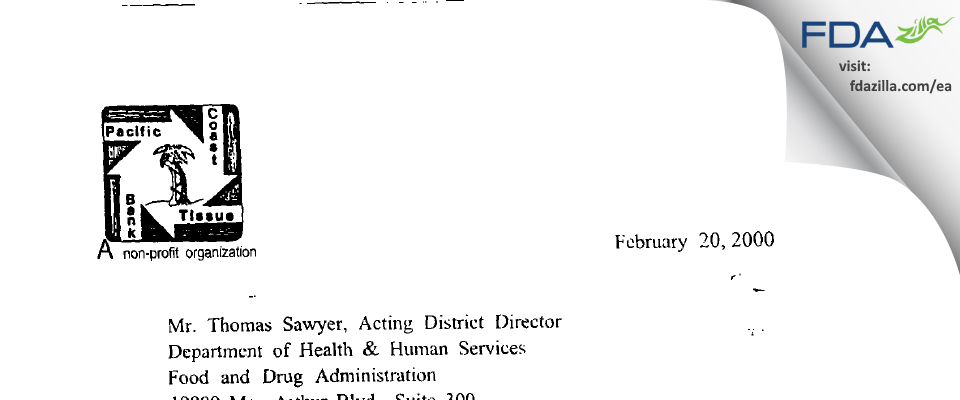 Pacific Coast Tissue Bank FDA inspection 483 Feb 2000