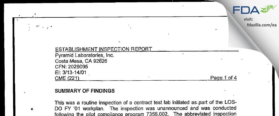 Pyramid Labs FDA inspection 483 Mar 2001