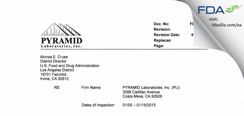 Pyramid Labs FDA inspection 483 Jan 2015