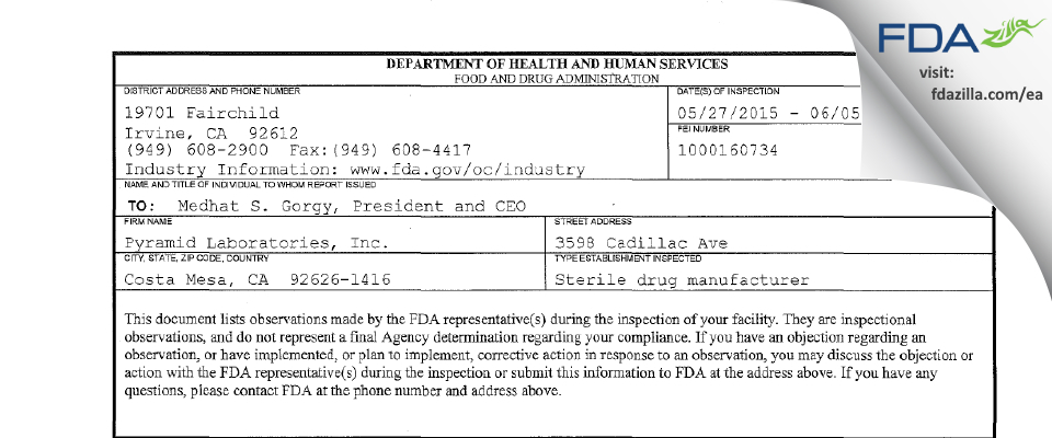 Pyramid Labs FDA inspection 483 Jun 2015
