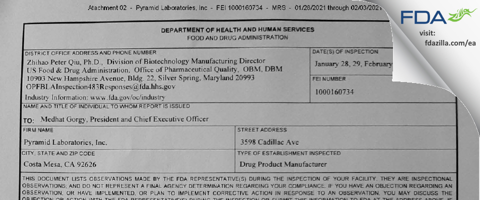 Pyramid Labs FDA inspection 483 Feb 2021