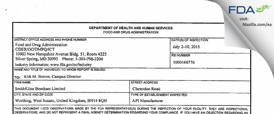 SmithKline Beecham FDA inspection 483 Jul 2015