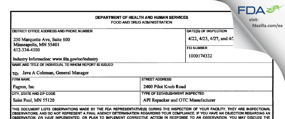 Fagron FDA inspection 483 Apr 2015