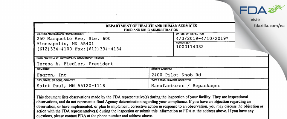 Fagron FDA inspection 483 Apr 2019