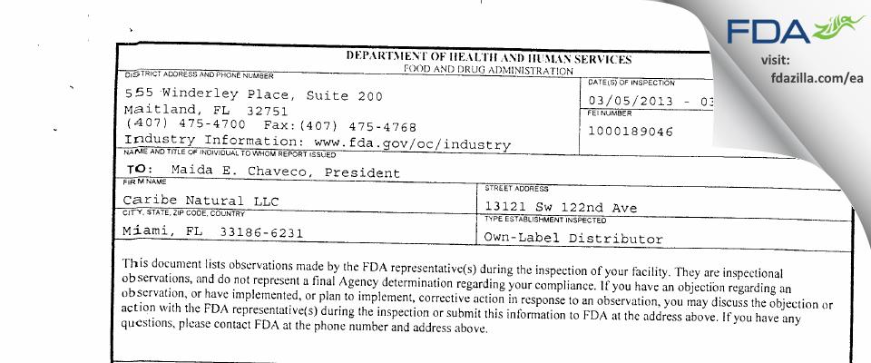 Caribe Natural FDA inspection 483 Mar 2013
