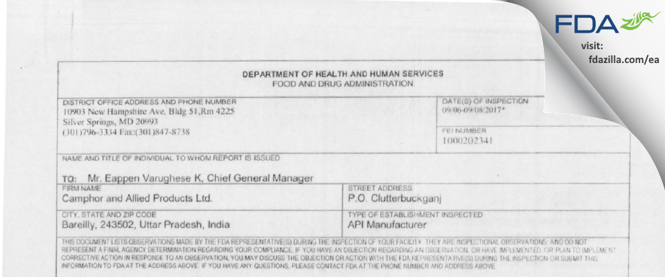Camphor And Allied Products FDA inspection 483 Sep 2017