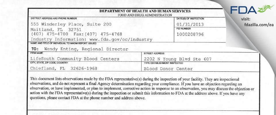 LifeSouth Community Blood Centers FDA inspection 483 Jan 2013