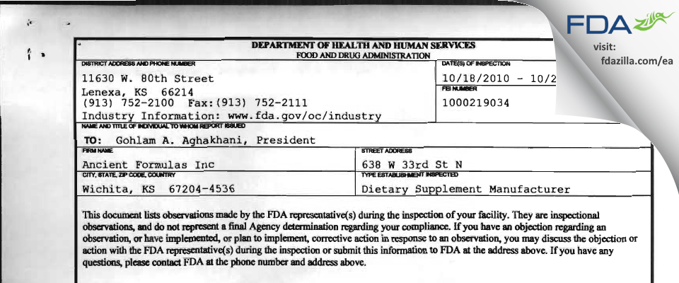 Ancient Formulas FDA inspection 483 Oct 2010