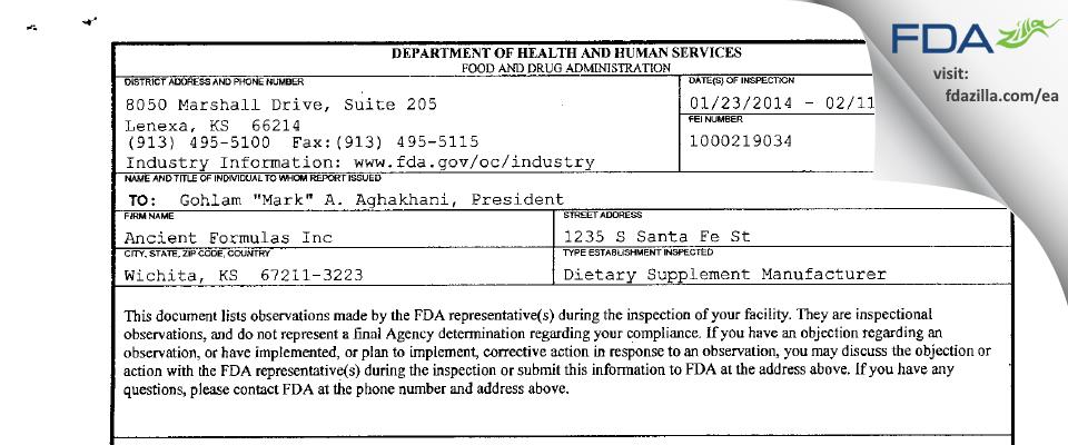 Ancient Formulas FDA inspection 483 Feb 2014