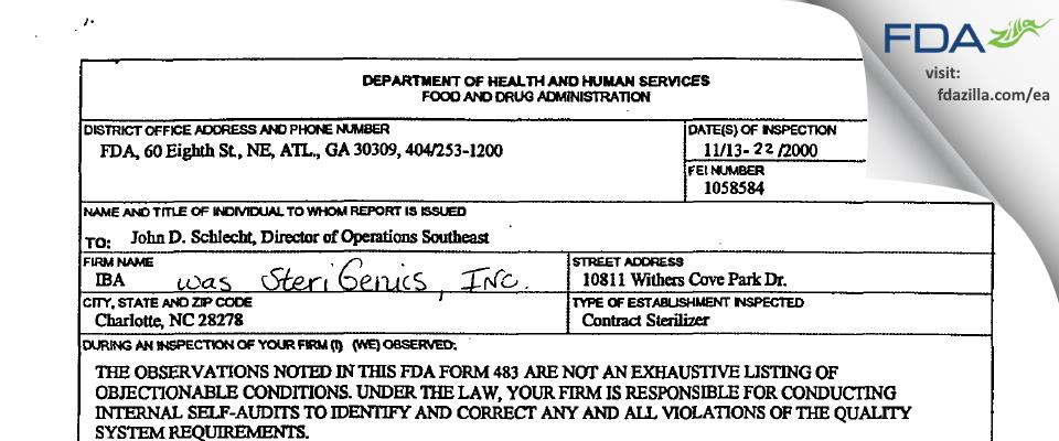 Sterigenics US FDA inspection 483 Nov 2000