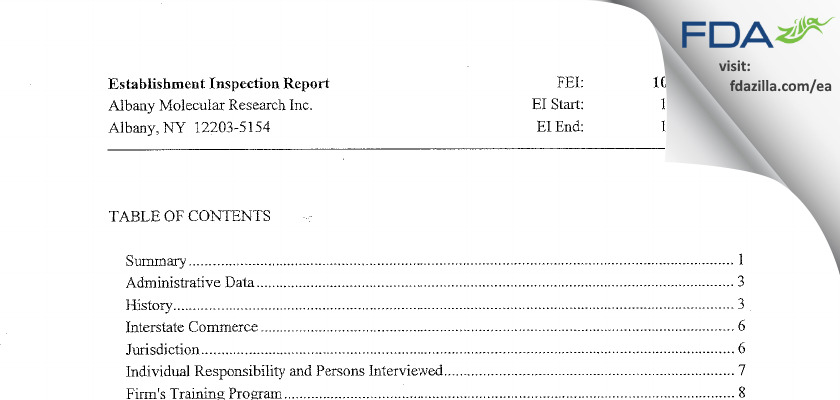 Albany Molecular Research FDA inspection 483 Dec 2013