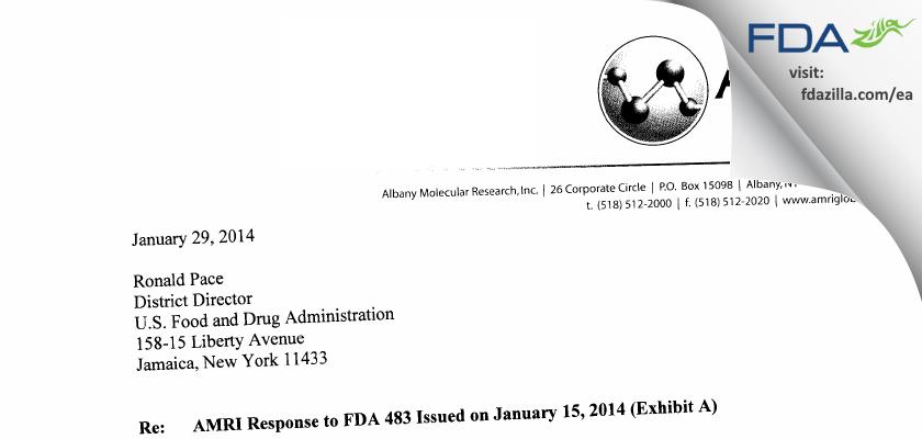 Albany Molecular Research FDA inspection 483 Dec 2013