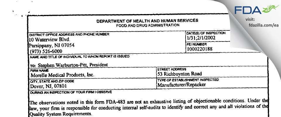 Morelle Medical Products FDA inspection 483 Feb 2002