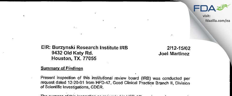 BRI Institutional Review Board FDA inspection 483 Feb 2002