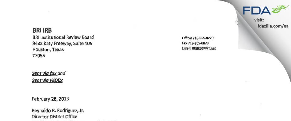 BRI Institutional Review Board FDA inspection 483 Feb 2013