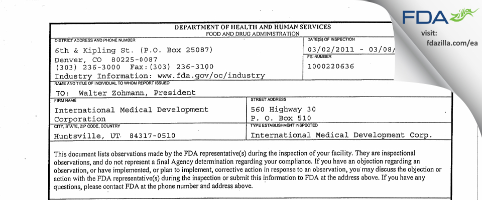 International Medical Development FDA inspection 483 Mar 2011