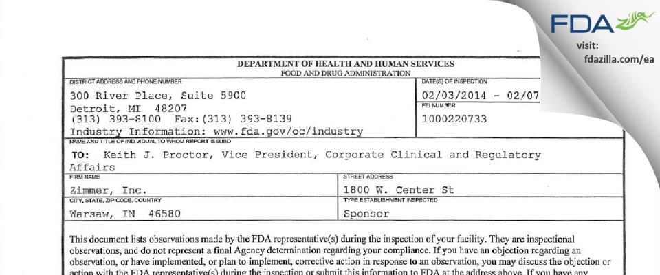Zimmer Biomet FDA inspection 483 Feb 2014