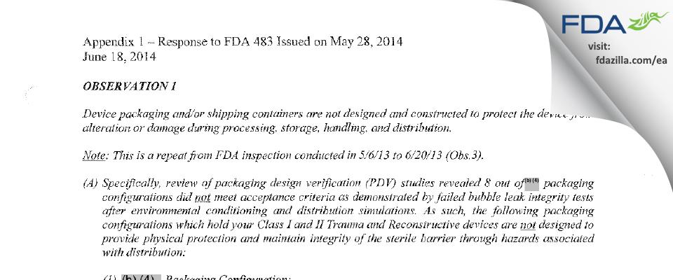 Zimmer Biomet FDA inspection 483 May 2014