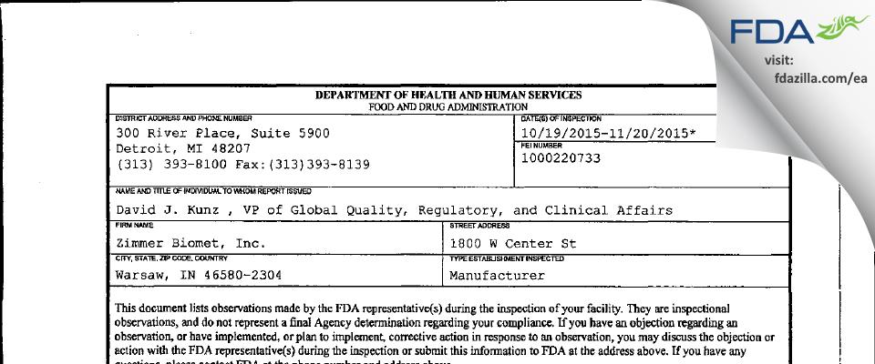 Zimmer Biomet FDA inspection 483 Nov 2015