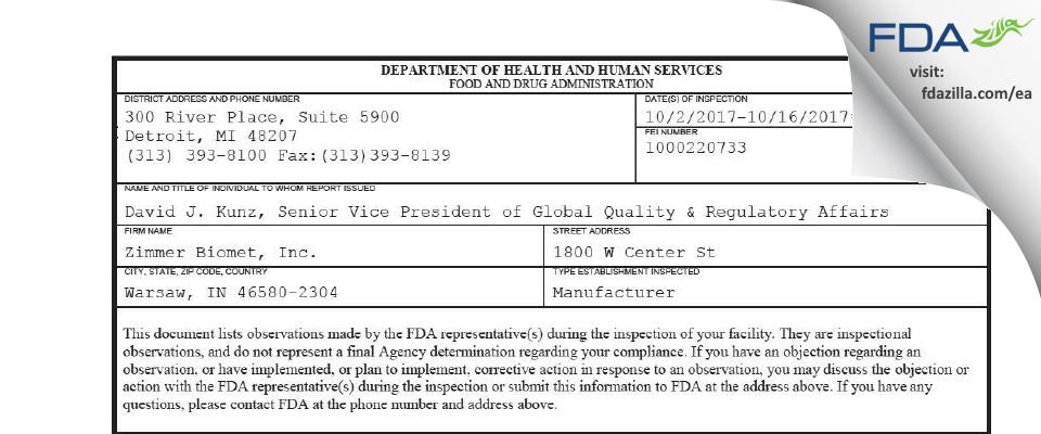 Zimmer Biomet FDA inspection 483 Oct 2017