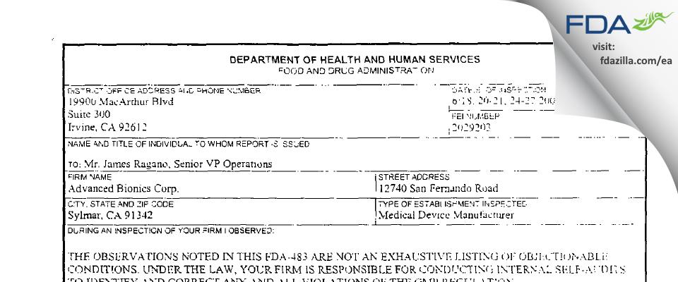 Advanced Bionics FDA inspection 483 Jun 2002