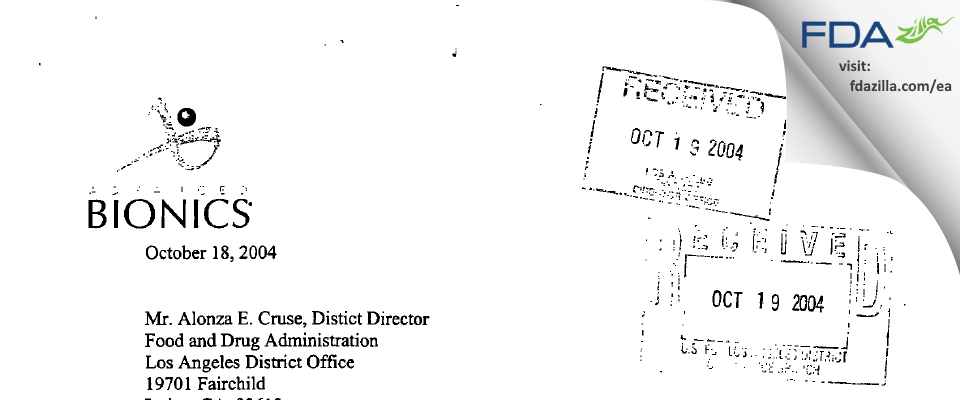 Advanced Bionics FDA inspection 483 Sep 2004