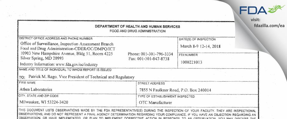 Athea Labs FDA inspection 483 Mar 2018
