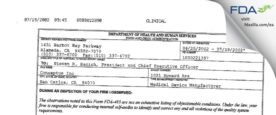 Bayer Healthcare FDA inspection 483 Jul 2002