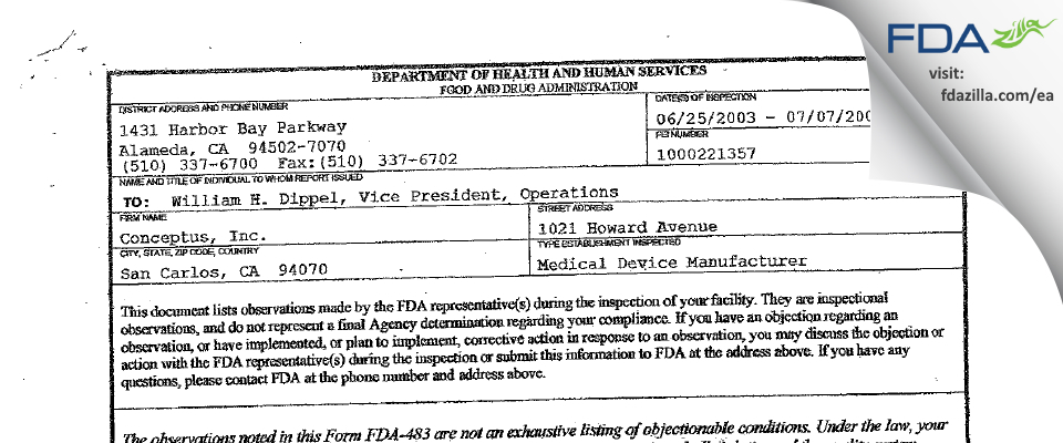 Bayer Healthcare FDA inspection 483 Jul 2003