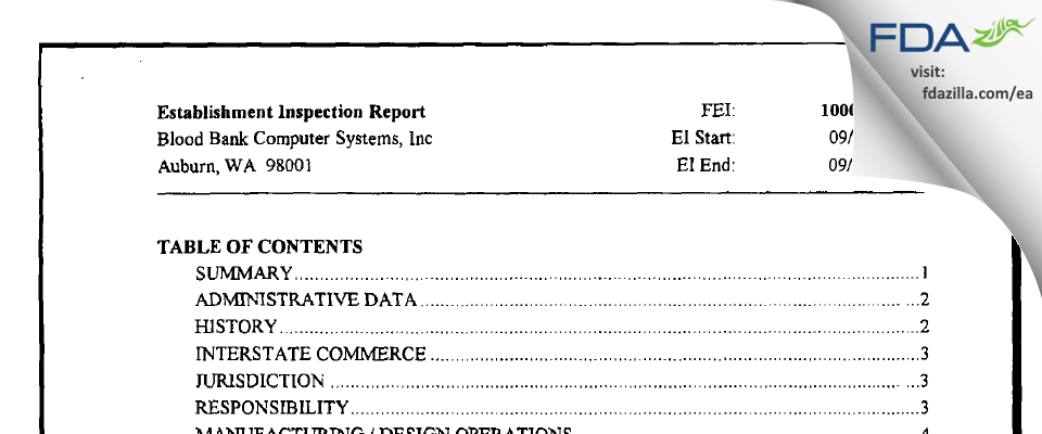 Blood Bank Computer Systems FDA inspection 483 Sep 2003