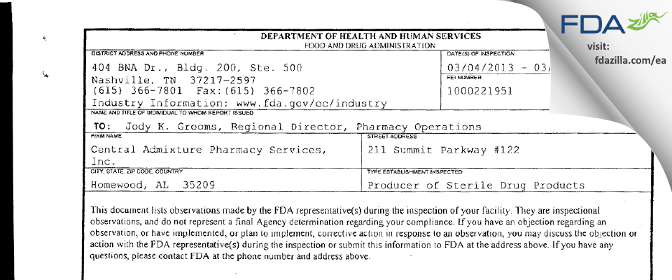 Central Admixture Pharmacy Services FDA inspection 483 Mar 2013