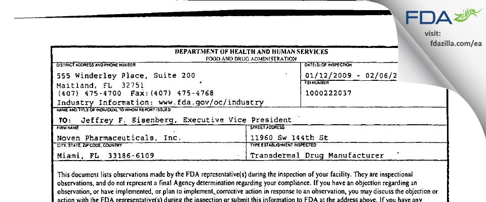 Noven Pharmaceuticals FDA inspection 483 Feb 2009