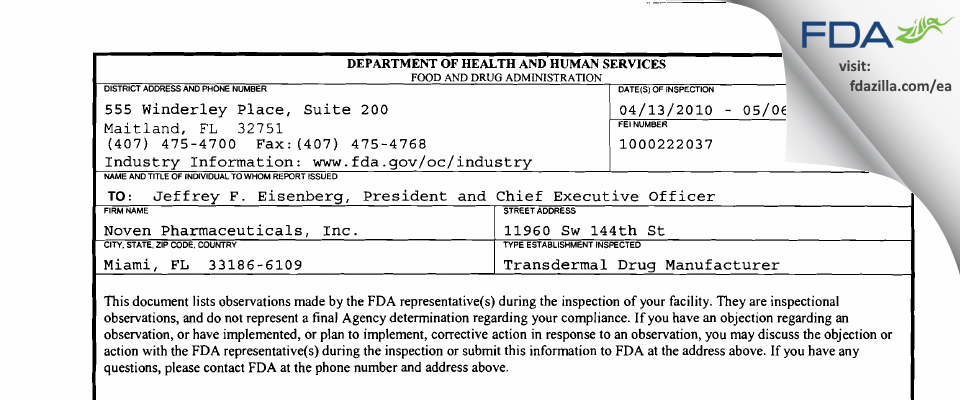 Noven Pharmaceuticals FDA inspection 483 May 2010