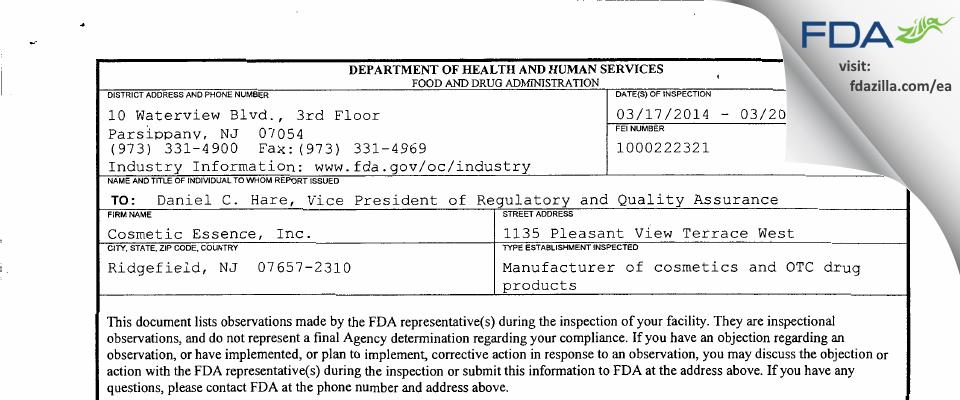 Cosmetic Essence FDA inspection 483 Mar 2014