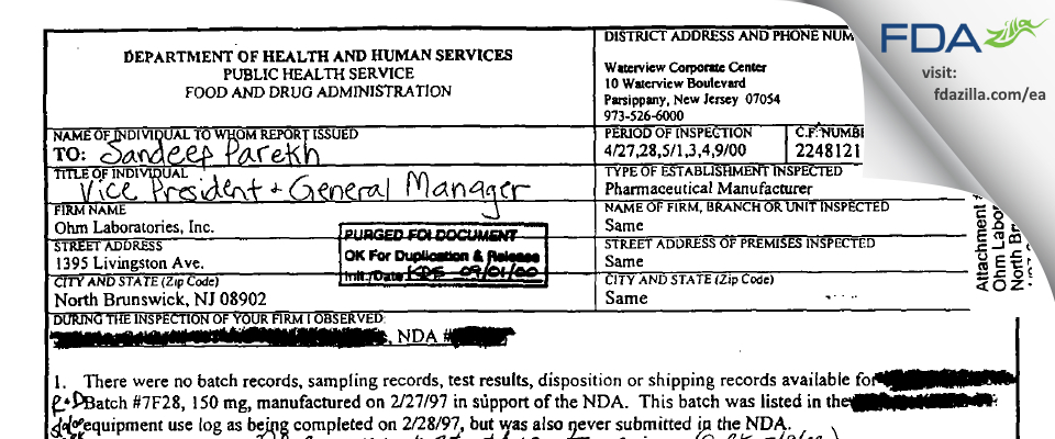Ohm Labs FDA inspection 483 May 2000