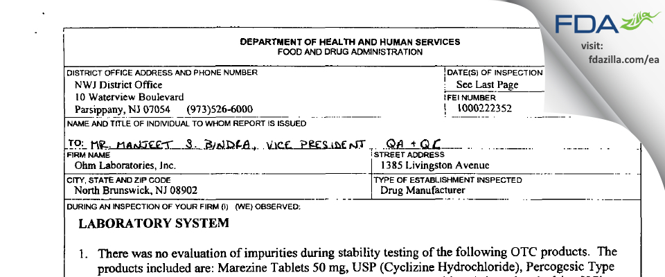 Ohm Labs FDA inspection 483 Mar 2001