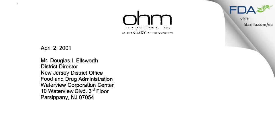 Ohm Labs FDA inspection 483 Mar 2001