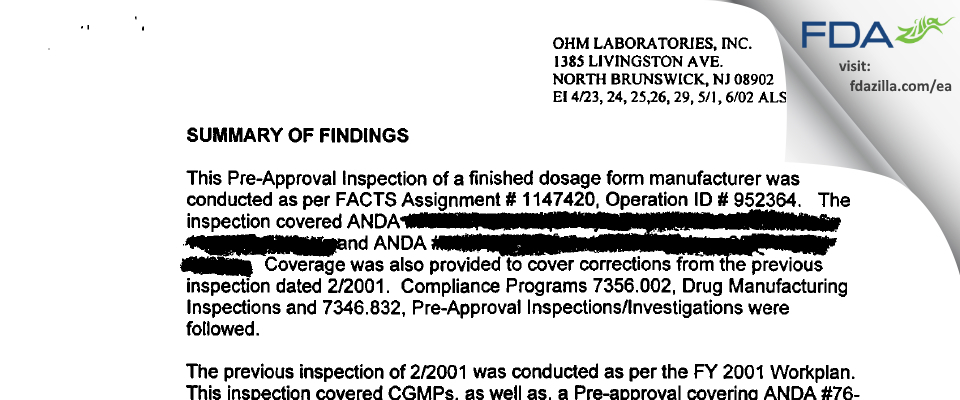 Ohm Labs FDA inspection 483 May 2002